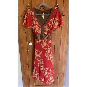 Maeve Anthropologie floral silk short sleeve dress